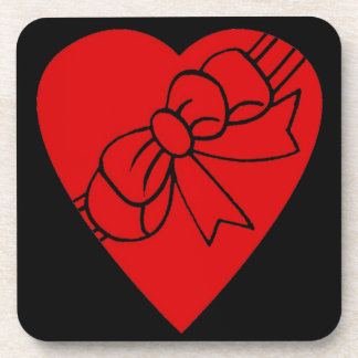 Red Love Heart, Ribbon Bow,Black Back Drink Coaster