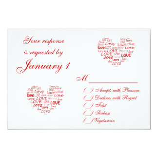 Red Love Heart RSVP Card