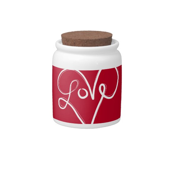 Red Love Heart Typography Candy Jar