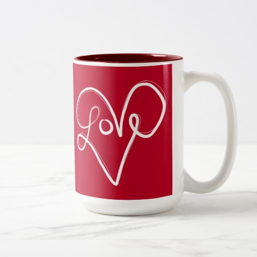red love heart typography coffee mug zazzle