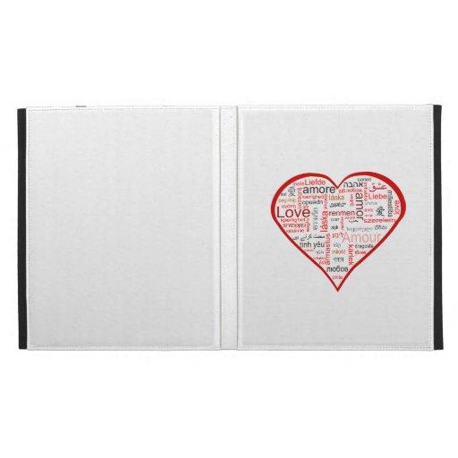 Red Love Heart Typography iPad Folio Cover