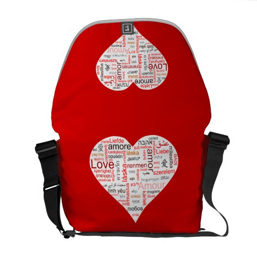 Red Love Heart Typography Messenger Bag
