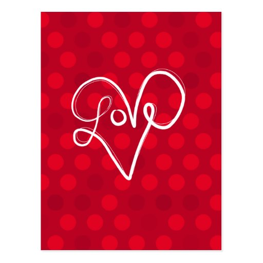 Red Love Heart Typography Postcard