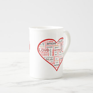 Red Love Heart Typography Tea Cup