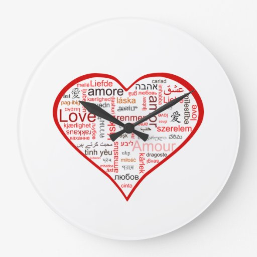Red Love Heart Typography Wallclocks