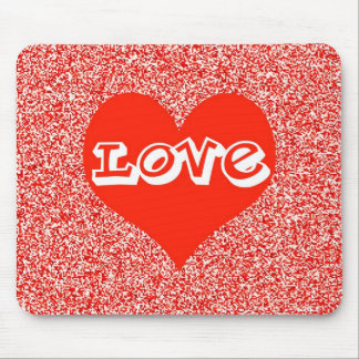 Red Love Heart Valentine Mouse Pad