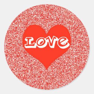 Red Love Heart Valentine Round Stickers
