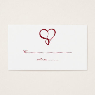 Red Love Heart Wedding Table Place Cards