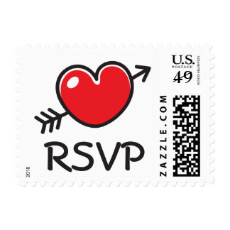 Red love heart with arrow RSVP reply card postage