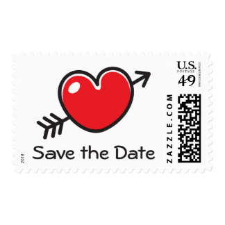 Red love heart with arrow Save the Date postage
