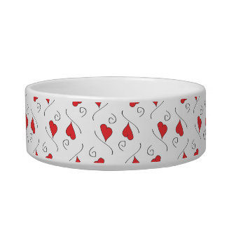 Red Love Hearts and Swirls Pet bowl