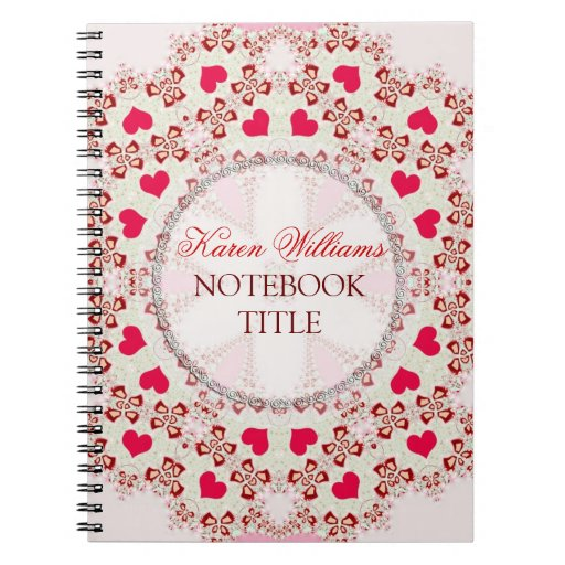 Red Love Hearts Country Lace Notebook