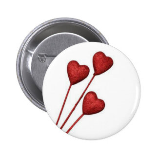 Red Love Hearts On Sticks Button