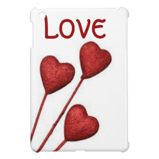 Red Love Hearts On Sticks iPad Mini Covers