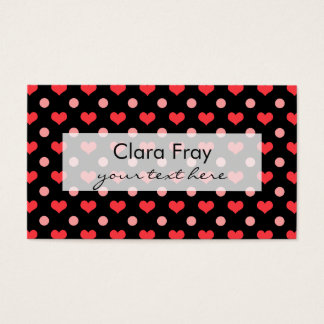 red love hearts, pastel pink polka dots pattern business card