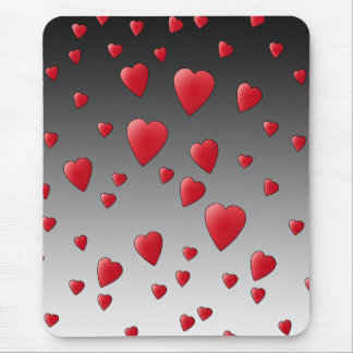 Red Love Hearts Pattern Mouse Pad