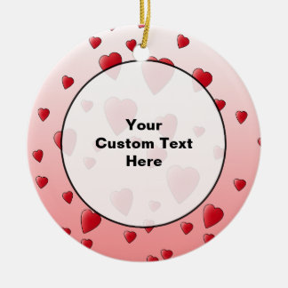 Red Love Hearts Pattern Christmas Ornament
