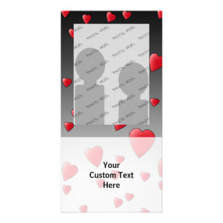Red Love Hearts. Pattern. Photo Card