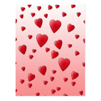 Red Love Hearts. Pattern. Postcards