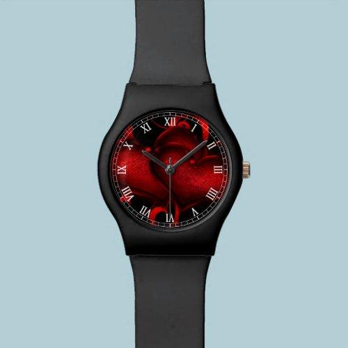 red love hearts swirl art wristwatch