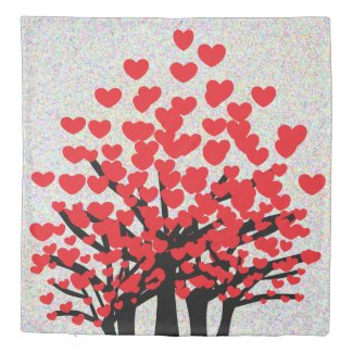 RED LOVE Hearts Trees Design Duvet Cover