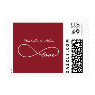 Red Love Infinity Wedding Postage Stamps