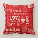 Red - Love, Joy and Happiness Throw Pillow