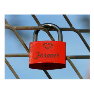 Red Love Lock Padlockwith Heart on Fence Postcard
