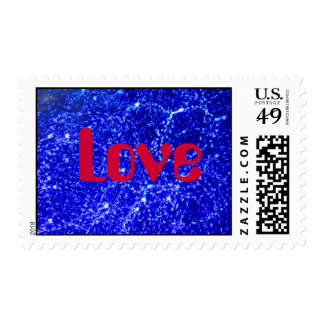 Red Love on Blue Abstract Postage Stamp