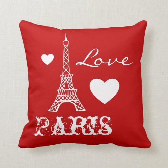 Paris Eiffel Tower Pillow 16 X 16: Red Love Paris Eiffel Tower Bedroom Pillow