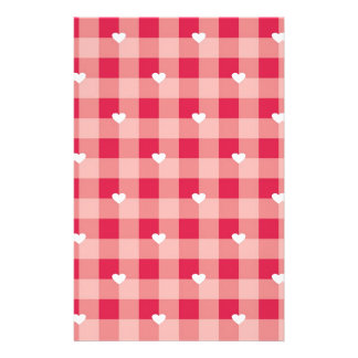 Red love pattern with hearts stationery