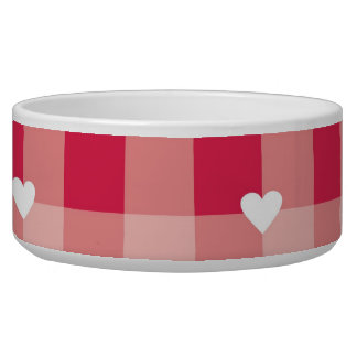 Red love pattern with hearts valentines pet bowl