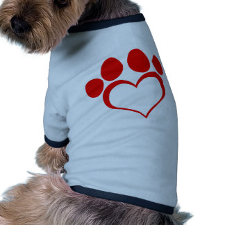 RED LOVE PAW PRINT ANIMALS CAUSES PETS CARING MOTI DOG T SHIRT