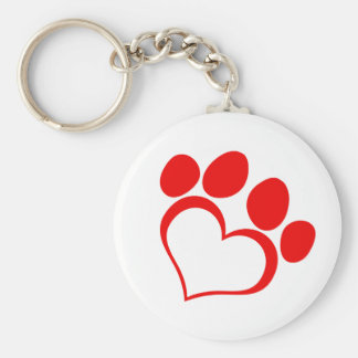 RED LOVE PAW PRINT ANIMALS CAUSES PETS CARING MOTI KEY CHAIN