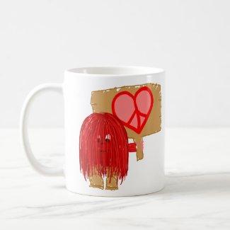 Red love peace mug