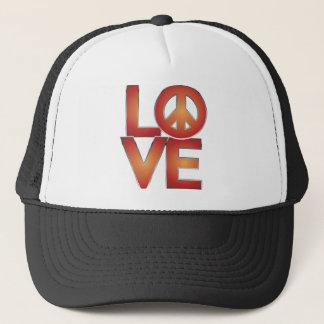 Red LOVE=Peace Trucker Hat