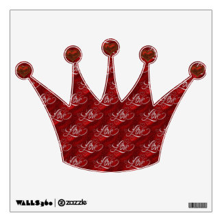 Red Love Princess Crown & Hearts Wall Decal