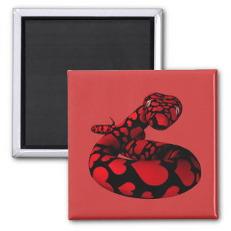 Red Love Python 2 Inch Square Magnet