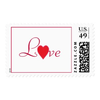 Red Love spelled with a heart, postage stamps