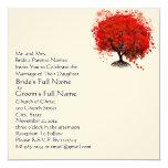 """Red Love Tree Square Wedding Invitation 5.25"""" Square Invitation Card"""