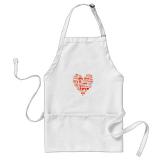 Red love word cloud apron