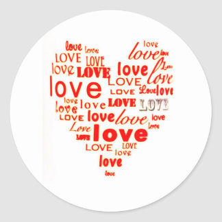 Red love word cloud classic round sticker