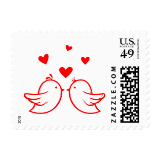 Red Lovebirds And Hearts Wedding Engagement Love Postage