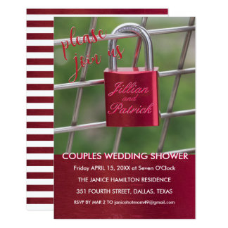 Red Lovers Padlock Chain Link Couples Shower Card