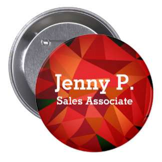 Red Low Poly Employee Name Button