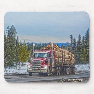 Red Lumber Truck Highway Driving Art Mousepad