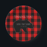 "Red Lumberjack Plaid | Woodland Boy Baby Shower Paper Plate<br><div class=""desc"">Unique, but trendy buffalo plaid baby boy shower paper plates-. Create your own personalized, rustic lumberjack plaid checks baby shower design with a woodland forest animals theme- Red and black buffalo plaid background with shadow of black bear the center of attention. On bear is customized &#39;name&#39; baby shower in whimsical...</div>"