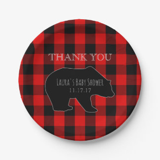 Red Lumberjack Plaid | Woodland Boy Baby Shower Paper Plate