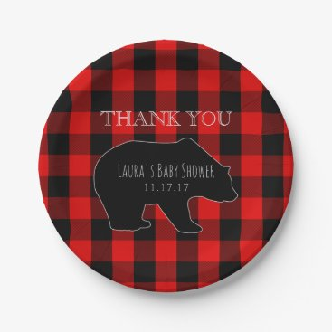 Toddler & Baby themed Red Lumberjack Plaid | Woodland Boy Baby Shower Paper Plate