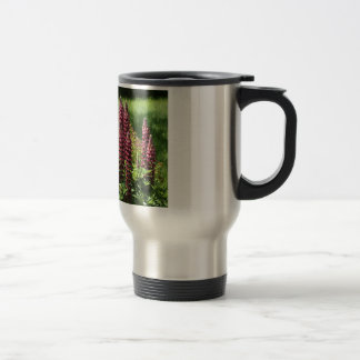 Red lupin flowers travel mug